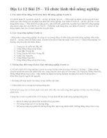 Địa Lí 12 Bài 25 – Tổ chức lãnh thổ nông nghiệp