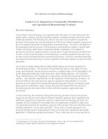 Guide to U.S. Regulation of Genetically Modified Food and Agricultural Biotechnology Products