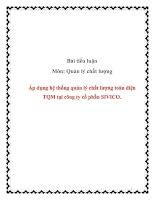 Tiểu luận:Áp dụng hệ thống quản lý chất lượng toàn diện TQM tại công ty cổ phần SIVICO. pptx