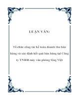 LUẬN VĂN: Tổ chức công tác kế toán doanh thu bán hàng và xác định kết quả bán hàng tại Công ty TNHH máy văn phòng Sing Việt pptx