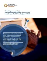 Listening and Learning: the Ombudsman's review of complaint handling by the NHS in England 2010-11 doc