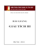 Bài giảng Giải tích III - Đại học Bách Khoa Hà Nội - PGS. TS. Nguyễn Xuân Thảo (cập nhật lần 2 năm 2014)