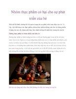 Nhóm thực phẩm có hại cho sự phát triển của bé ppt