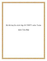 Kì thi tuyển sinh lớp 10 THPT môn Toán tỉnh Yên Bái pdf