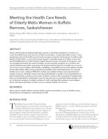 Meeting the Health Care Needs of Elderly Métis Women in Buffalo Narrows, Saskatchewan potx