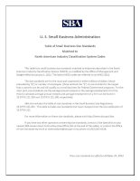 U. S. Small Business Administration Table of Small Business Size Standards Matched to North American Industry Classification System Codes pot