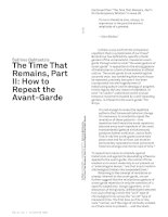 The Time That Remains, Part II: How to Repeat the Avant-Garde docx