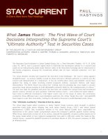 "What Janus Meant: The First Wave of Court Decisions Interpreting the Supreme Court's ""Ultimate Authority"" Test in Securities Cases potx"