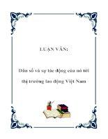 LUẬN VĂN: Dân số và sự tác động của nó tới thị trường lao động Việt Nam pptx