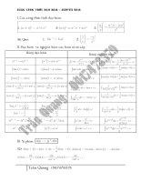 Bảng tổng hợp công thức Đạo hàm - Nguyên hàm - Mũ + Logarit.. pot