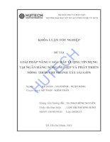 Luận văn:Giải pháp nâng cao chất lượng tín dụng tại NH Nông nghiệp & PTNT chi nhánh Tây SG docx