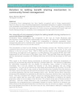 Bao Huy 2008: Solution to setting benefit sharing mechanism in community forest management