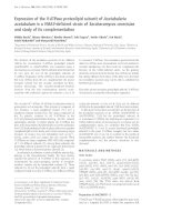 Báo cáo Y học: Expression of the V-ATPase proteolipid subunit of Acetabularia acetabulum in a VMA3-deficient strain of Saccharomyces cerevisiae and study of its complementation pdf