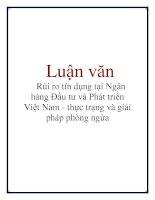 Luận văn: Rủi ro tín dụng tại Ngân hàng Đầu tư và Phát triển Việt Nam - thực trạng và giải pháp phòng ngừa docx