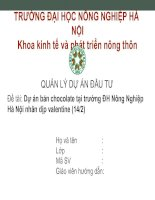 Đề tài: Dự án bán chocolate tại trường ĐH Nông Nghiệp Hà Nội nhân dịp valentine (14/2) doc