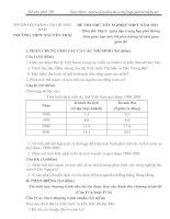 Đề thi thử tốt nghiệp THPT Môn Địa Trường Nguyễn Trãi Quảng Nam(có đáp án, thang điểm), đề chuẩn