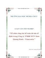 LUẬN VĂN TỐT NGHIỆP ''''Tổ chức công tác kế toán tài sản cố định trong Công ty TNHH MTV than Quang Hanh - Vinacomin