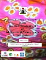 National Strategic Framework on the Health & Development of Adolescents & Young People in Nigeria ppt