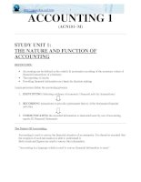 ACCOUNTING 1 (ACN101- M) THE NATURE AND FUNCTION OF ACCOUNTING doc