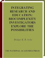 INTEGRATING RESEARCH AND EDUCATION BIOCOMPLEXITY INVESTIGATORS EXPLORE THE POSSIBILITIES ppt