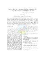 NGHIÊN CỨU PHÁT TRIỂN MỘT SỐ GIỐNG HOA ĐỒNG TIỀN THÍCH HỢP CHO CÁC TỈNH MIỀN NÚI PHÍA BẮC ppt