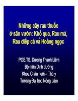 Những cây rau thuốc ở sân vườn: Khổ qua, Rau má, Rau diếp cá và Hoàng ngọc - PGS.TS. Dương Thanh Liêm potx