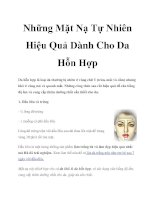 Những Mặt Nạ Tự Nhiên Hiệu Quả Dành Cho Da Hỗn Hợp doc