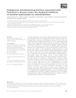 Báo cáo khoa học: Endogenous tetrahydroisoquinolines associated with Parkinson's disease mimic the feedback inhibition of tyrosine hydroxylase by catecholamines doc