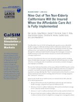 Nine Out of Ten Non-Elderly Californians Will Be Insured When the Affordable Care Act is Fully Implemented ppt