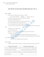 SỞ GD và ĐT THỪA THIÊN HUẾ Trường THPT Phú Bài.ĐÁP ÁN ĐỀ THI HỌC SINH GIỎI MÔN SINH HỌC LỚP 12 docx