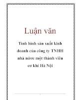 Luận văn: Tình hình sản xuất kinh doanh của công ty TNHH nhà nứơc một thành viên cơ khí Hà Nội docx
