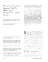 OCCUPATION IN LIFESTYLE REDESIGN: THE WELL ELDERLY STUDY OCCUPATIONAL THERAPY PROGRAM pptx