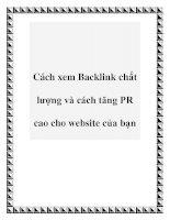 Cách xem Backlink chất lượng và cách tăng PR cao cho website của bạn docx