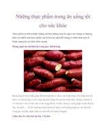 Những thực phẩm trong ăn uống tốt cho sức khỏe potx
