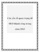 Các yếu tố quan trọng để SEO thành công trong năm 2013 doc