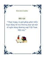 """Khóa luận tốt nghiệp - Đề tài """"Thực trạng và giải pháp phát triển hoạt động tài trợ thương mại tại một số ngân hàng thương mại Việt Nam hiện nay"""" doc"""