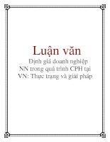 Luận văn: Định giá doanh nghiệp NN trong quá trình CPH tại VN: Thực trạng và giải pháp docx