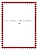 Một số thủ thuật và công cụ hay cho Recycle Bin pdf