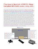 Ứng dụng ic lập trình AT89C51: Dùng bàn phím điều khiển motor, relay, đèn... pdf