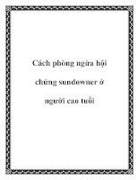 Cách phòng ngừa hội chứng sundowner ở người cao tuổi ppt