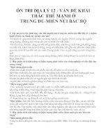 ÔN THI ĐỊA LÝ 12 - VẤN ĐỀ KHAI THÁC THẾ MẠNH Ở TRUNG DU MIỀN NÚI BẮC BỘ docx