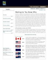 FINANCIAL MARKETS MONTHLY : Waiting for You Know Who pot