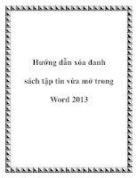 Hướng dẫn xóa danh sách tập tin vừa mở trong Word 2013 docx
