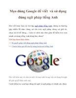 Mẹo dùng Google để viết và sử dụng đúng ngữ pháp tiếng Anh doc