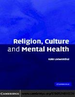 Religion, Culture and Mental Health pdf