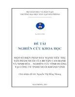 Một số biện pháp đẩy mạnh tiêu thụ sản phẩm muối của huyện Cam Ranh và Ninh Hòa- Nghiên cứu tình huống tại công ty TNHH Muối Khánh Vinh