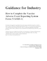 Guidance for Industry - How to Complete the Vaccine Adverse Event Reporting System Form (VAERS-1) potx