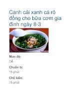 Canh cải xanh cá rô đồng cho bữa cơm gia đình ngày 8-3 ppt