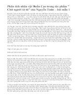 """Phân tích nhân vật Huấn Cao trong tác phẩm """" Chữ người tử tù"""" của Nguyễn Tuân – bài mẫu 1"""