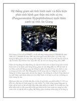 Hệ thống giám sát tình hình nuôi và điều kiện phát sinh bệnh gan thận mủ trên cá tra (Pangasianodon Hypophthalmus) nuôi thâm canh tại tỉnh An Giang pptx